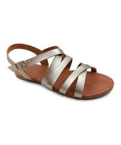 Another great find on #zulily! Gold Christine Criss-Cross Sandal - Kids #zulilyfinds