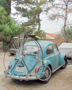 old bike and VW bug