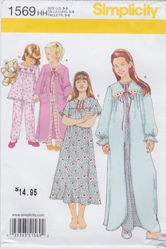 Simplicity Sewing Pattern 1569 Child's and Girl's Sleepwear New UNCUT #Simplicity