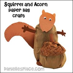Paper Bag Squirrel with Giant Paper Bag Acorn Craft for Kids from www.daniellesplace.com
