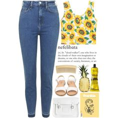A fashion look from September 2015 featuring Topshop jeans, Cole Haan sandals and The Cambridge Satchel Company handbags. Browse and shop related looks.