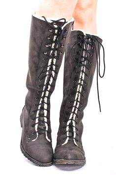 BLACK LACE UP KNEE HIGH BOOTS
