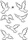 Illustration about Illustration of simple dove symbol. Illustration of leaf, card, animal - 21762505 Bird Drawings, Pencil Art Drawings, Easy Drawings, Art Sketches, Dove Drawing, Peace Drawing, Drawing Art, Bird Art, Rock Art