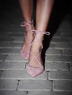 Thinking about Friday // Andra Kitten Heel | Ankle strap lace up heels with a pointed toe and a kitten heel. *By Jeffrey Campbell + Free People