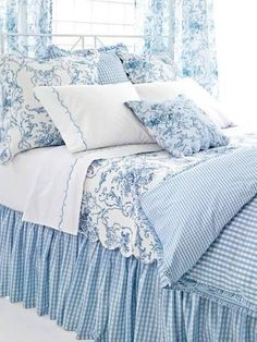 Bedroom Blue And White French Country.Blue Toile Add A Blue And White Vertical Striped Bed . Gray Wash Wood Bed With Iron Canopy And White Cabriole . Home and Family Bedroom Decor, White Bedroom, Beautiful Bedding, Shabby Chic Bedrooms, Blue White Decor, Blue Rooms, Home Decor, Dream Bedroom, Chic Bedroom