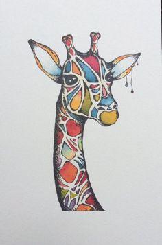 A giraffe of many colors. Paint Brush Drawing, Brush Pen Art, Giraffe Drawing, Giraffe Art, Animal Drawings, Cool Drawings, Shadow Painting, Zebra Art, Art Walk