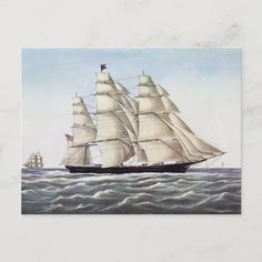 """The Clipper Ship """"Flying Cloud"""" Postcard Size: ' ' Postcard. Gender: unisex. Age Group: adult. Material: Matte. The Clipper, Sail Boats, Postcard Size, Sailing Ships, Nautical, Gender, Clouds, Age, Group"""