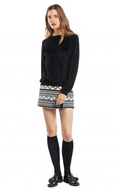 Love the graphic monochrome print on the skirt