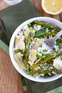Israeli couscous salad with roasted asparagus