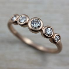 Five Stone Ring, in 14k Rose Gold with conflict-free diamonds.