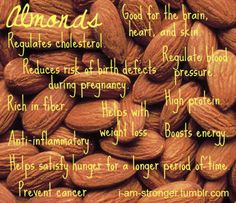 Almonds - my new fave snack just plain. Great way too reach my calorie goasl but keep my carbs low Get Healthy, Healthy Tips, Healthy Recipes, Healthy Foods, Health And Wellness, Health Fitness, Fitness Plan, Almond Benefits, Snack