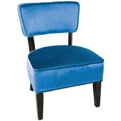 Chaise d'appoint bleu en velours parfaite pour une pièce de lecture ou une entrée Accent Chairs, Furniture, Collection, Home Decor, Side Chairs, Velvet, Lounge Chairs, Reading, Blue