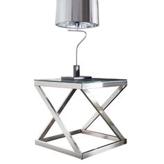 Signature Design by Ashley Coylin Square End Table - Brushed Nickel Finish