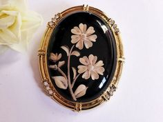 Art Deco Reverse Carved Cameo Brooch with Gold Frame by EdenKitsch