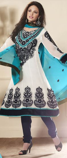 Simple, cute and comfy. Salty #White Faux #Georgette Churidar #Kameez @ $75.49