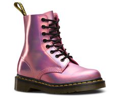 110 All the original boots DNA — like grooved edges, 8-eyes and a scripted heel-loop — but with a raw ankle. And this season, we gave it a holiday makeover in a party-ready, iridescent metallic leather. Retains all the classic Doc's DNA Built on the iconic and famous Dr. Martens air-cushioned sole