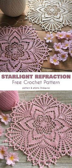 Starlight Reflection Doily Free Crochet Pattern These beautiful doilies will be a great addition to your decorative craft arsenal. This is a 21 round doily with a lacework-like texture which will Crochet Thread Patterns, Free Crochet Doily Patterns, Crochet Patterns For Beginners, Crochet Designs, Crochet Stitches, Crochet Doily Diagram, Crochet Dreamcatcher Pattern Free, Tatting Patterns, Free Pattern