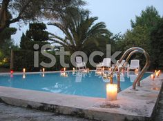 Party at night on the pool royalty-free stock photo Summer Pool, Summer Parties, Pool Parties, Summer Time, Pool Candles, Pillar Candles, Sommer Pool Party, Dinner Party Decorations, Adult Halloween Party