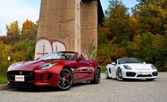 The Jaguar F-Type S manual and Porsche Boxster Spyder are both pure driving cars.