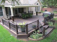 53 Awesome Backyard Ideas for Patios, Porches, and Decks - Ideen Terrasse Veranden Backyard Patio Designs, Backyard Fences, Backyard Landscaping, Patio Ideas, Backyard Ideas, Fence Ideas, Unique Deck Ideas, Landscaping Around Deck, Cozy Backyard