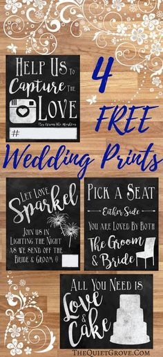 Free Wedding Printable signs for Photos, Seating, Cake, And Sendoff!