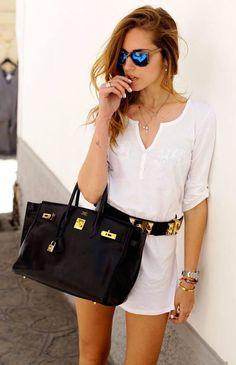 Casual style - Chiara Ferragni / white dress with Hermes bag and belt Jane Birkin, Sac Birkin Hermes, Birkin Bags, Hermes Belt, Fashion Moda, Look Fashion, Womens Fashion, Fashion Trends, Cheap Fashion