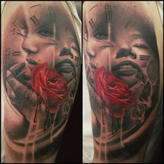 Rose, clock, and faces by Jason Butcher : Tattoos