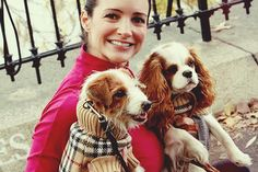 LOVE Charlotte with her Cavalier King Charles Spaniel in its Burberry ❤️