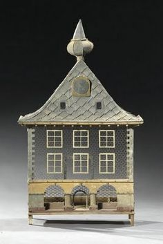 American Tin House Form Squirrel Cage, Early C. Dutch Architectural Wood, Zinc & Wirework Birdcage, C. Antique Bird Cages, The Caged Bird Sings, Tin House, Miniature Houses, Home And Deco, How To Antique Wood, Little Houses, Oeuvre D'art, Bird Feathers
