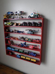 storage for toy trucks - Kids Room Ideas Truck Bedroom, Bedroom Red, Boys Bedroom Decor, Boy Car Room, Baby Boy Rooms, Diy Garage Shelves, Room Shelves, Shelf Wall, Monster Truck Room