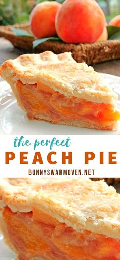 The Perfect Peach Pie The flavor of the peaches is up front and delicious the pie isnt overly sweet which allows the peach flavor and natural sweetness to come shining t. Fall Dessert Recipes, Pie Dessert, Easy Desserts, Delicious Desserts, Yummy Food, Peach Pie Recipes, Tart Recipes, Baking Recipes, Recipe For Peach Pie