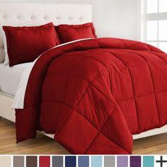 Ultra-Soft Premium 1800 Series Goose Down Alternative Comforter Set - Hypoallergenic - All Season - Plush Siliconized Fiberfill (Full/Queen - Red)