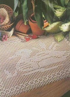 Duck crochet filet work with diagram