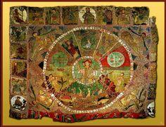 Tapiz de la creación.  Tapiz románico del siglo XI, se encuentra en la catedral de Girona ( Catalunya, España). Sus dimensiones son de 3,58m x 4,50m.   Aunque recibe el nombre de tapiz en realidad es un paño bordado de gran calidad y delicadeza en lo que se dio a llamar pintura a la aguja. De autor anónimo