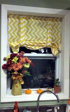 Just over 2 years ago, I made no-sew roman shades for my kitchen, in a fun, yellow, chevron print.  The fabric I used was the same as the no-sew curtains I made for the kitchen, that now liv...
