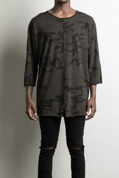3/4 sleeve tee in camo by daniel patrick