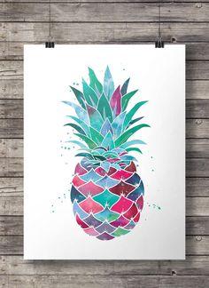 Watercolor Pineapple - Printable wall art  - Instant download digital print