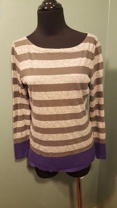 Gap Gray Charcoal Purple Striped Cotton Poly Flax Long sleeve Knit Top XS  #Gap #KnitTop #Casual #daystarfashions $4.99