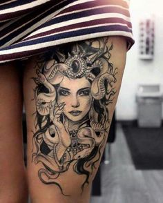30 trending thigh tattoo ideas tattoo ideas medusa tattoo, t Sexy Tattoos, Cute Tattoos, Beautiful Tattoos, Body Art Tattoos, Tattoos For Guys, Sleeve Tattoos, Tattoos For Women, Tatoos, Tattooed Women
