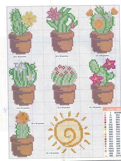 Con Punto de cruz: Cactus en punto de cruz