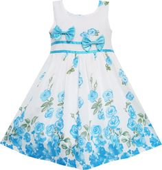 Girls Dress Blue Flower Double Bow Tie Party Birthday Summer Camp Size 4-12 Years