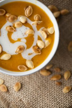 Curried Pumpkin and Coconut Soup - use about 3 cups of pumpkin purée if pumpkins are not in season