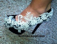 Venice Lace Appliques  for belts sashes ,shoes, bridal dress, headband, hair piece Ivory