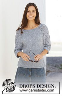 Blue nostalgia / DROPS - free knitting patterns by DROPS design : Knitted sweater with raglan in DROPS Sky. The piece is knitted from top to bottom with lace patterns on the sleeves. Sizes S – XXXL. Drops Design, Sweater Knitting Patterns, Lace Knitting, Knit Crochet, Knitting Sweaters, Knitting Ideas, Jumpers For Women, Sweaters For Women, Laine Drops