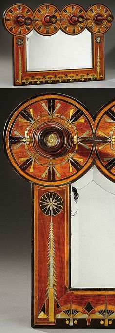CARLO BUGATTI rectangular mirror framed in walnut veneer and black tinted wood with gilded brass and chromium-plated inlays with radiating, geometrical decoration composed of stylized insects, circa 1900. H : 18 1/2 in L : 27 1/4 in D : 7 in | SOLD 9,500 EUR, Paris, Dec. 2014