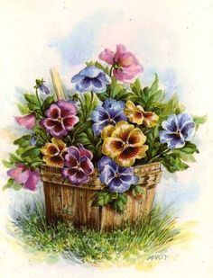 Pansies Decoupage Transfer , Printable -- You could make pansies out of polymer clay canes.
