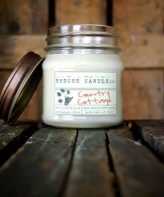 Country Cottage  Soy Candle /  8 oz. Glass Mason by RescueCandle