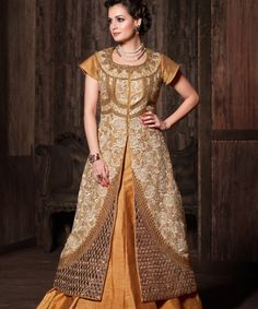 Style and Elegance come amicably together in this designer anarkali styled Yellow & Beige lehenga @ 5599 only