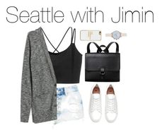 """""""Seattle with Jimin"""" by kookiechu ❤ liked on Polyvore featuring Boohoo, H&M, Madewell, Monki, BaubleBar and New Look"""