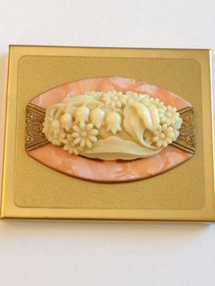 Vintage Compact - Art Deco - with Vanity Mirror in Celluloid Case